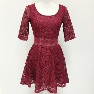American Rag Burgundy Lace Fit & Flare Dress